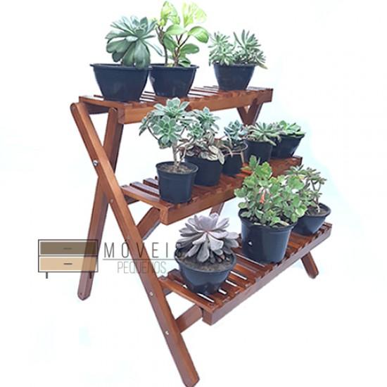Estante para plantas com  3 prateleiras modelo 78 cor imbuia