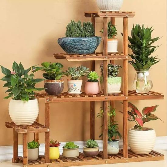Suporte para vasos de plantas em madeira 03