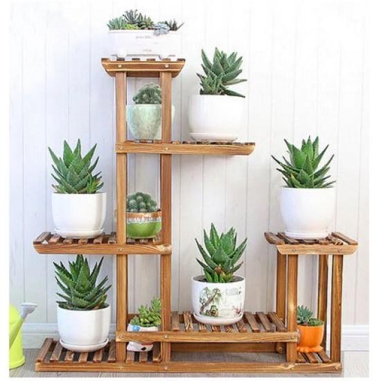Suporte para vasos de plantas em madeira modelo 02