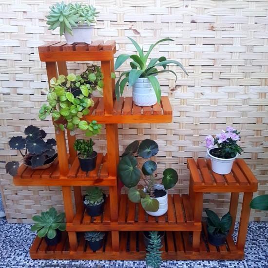 Prateleira para vasos de plantas em madeira modelo 02 imbuia