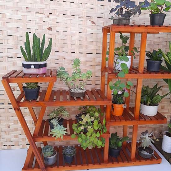 Suporte para vasos de plantas em madeira 29