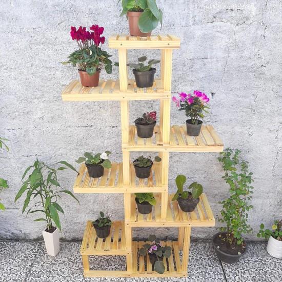 Suporte de planta feito em madeira modelo 35
