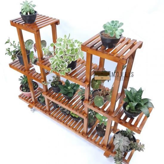 Estante para Plantas feito em madeira modelo 90 cor imbuia