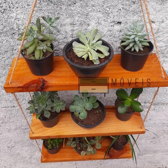 Prateleira madeira para plantas e decoração