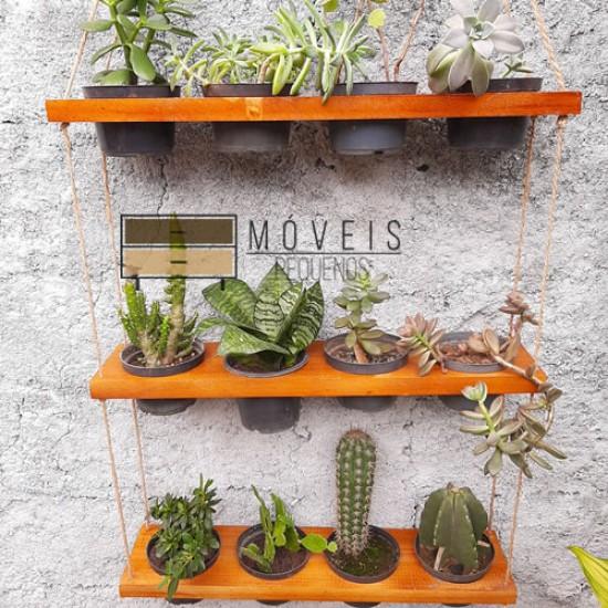 Prateleira de madeira para 12 vasos de plantas