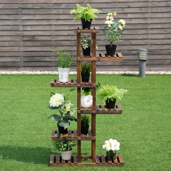 Suporte de planta feito em madeira