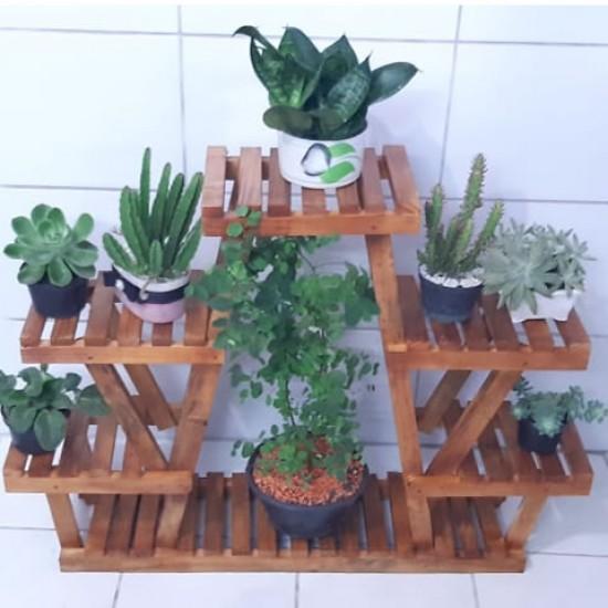 Floreira de chão, para vasos de plantas em madeira 06