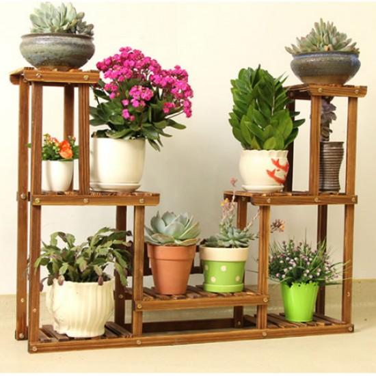 Suporte para vasos de plantas em madeira 10