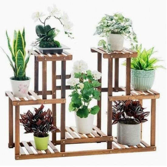Floreira de chão, Suporte para vasos de plantas em madeira 11