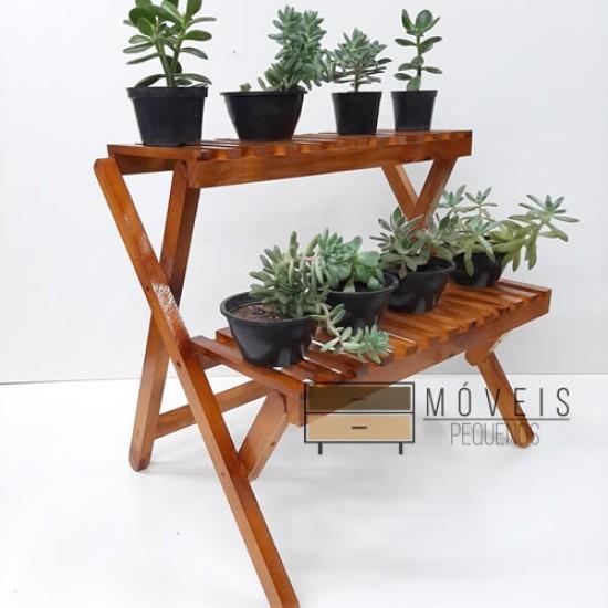 Estante para plantas com 2 prateleiras modelo 79 cor imbuia